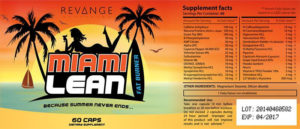 Revange Miami Lean Supplement Facts